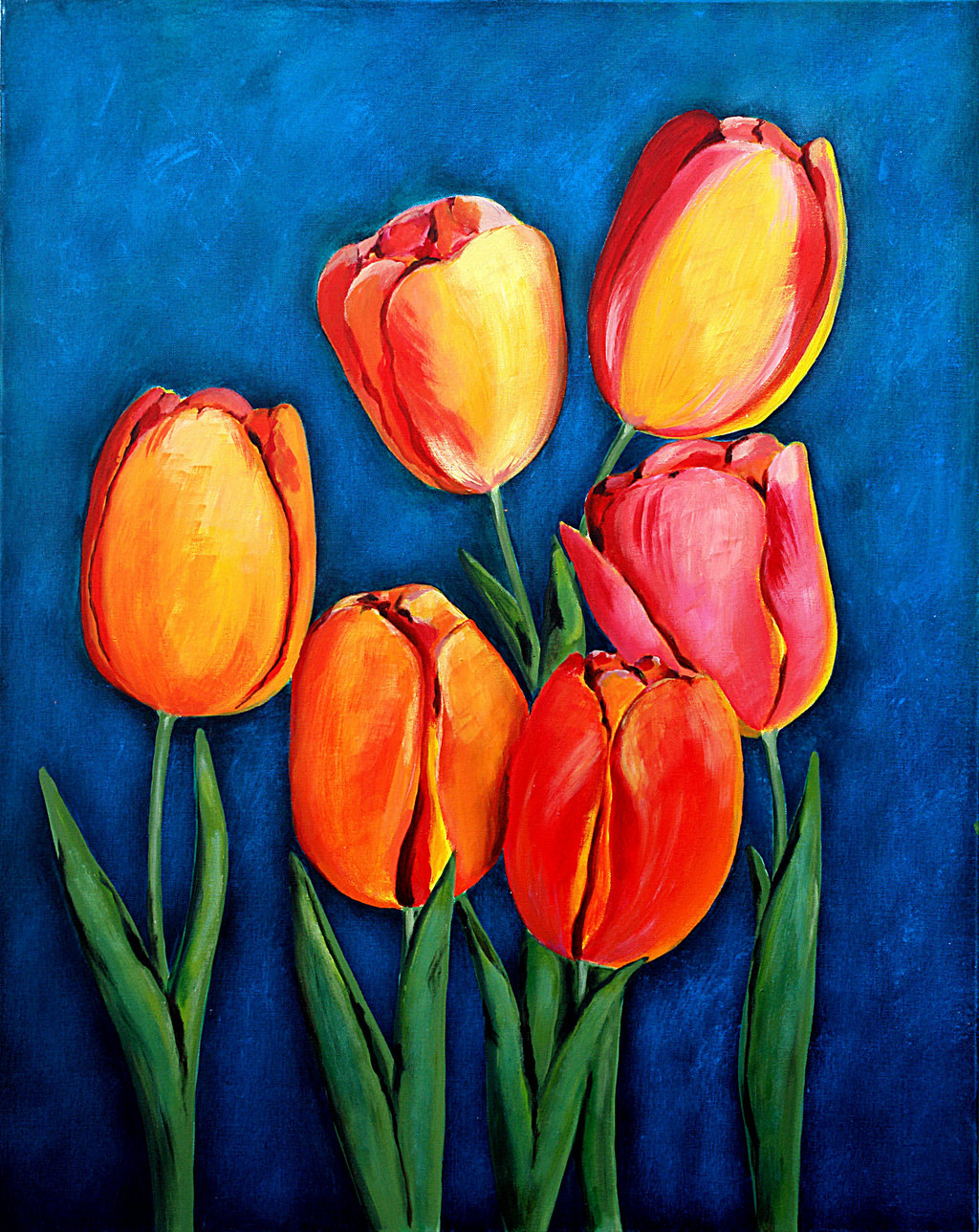 Ozgul tuzcu artwork tulips original painting acrylic for Floral acrylic paintings