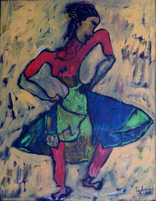 Padma Prasad: 'Dancer', 2009 Oil Painting, Figurative.    Woman figure dancer   ...