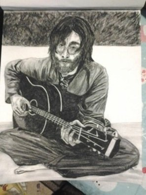 Katy Kerr: 'Lennon portrait', 2013 Charcoal Drawing, People.  14x17 ORIGINAL charcoal by myself, comes framed in simple wood frame and mat- please see website