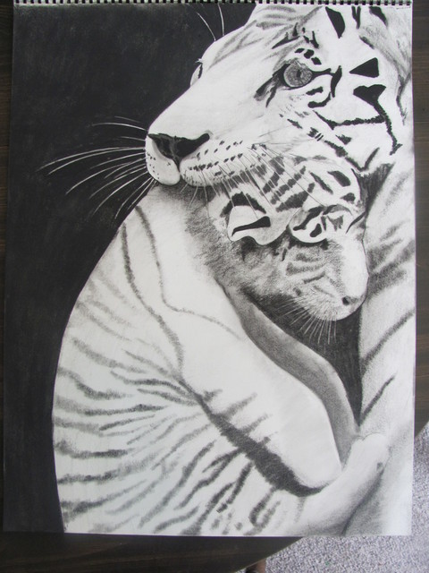 Katy Kerr  'Momma Tiger', created in 2010, Original Mixed Media.