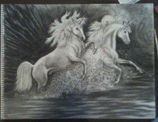 Katy Kerr Artwork Unicorns at play, 2009 Charcoal Drawing, Animals