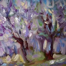Galina Nikolova Artwork Acacias In Violet, 2009 Oil Painting, Landscape