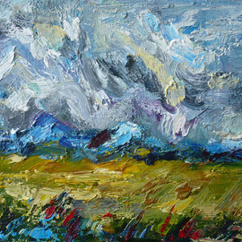 Galina Nikolova Artwork Fields On The Wind, 2009 Oil Painting, Abstract Landscape