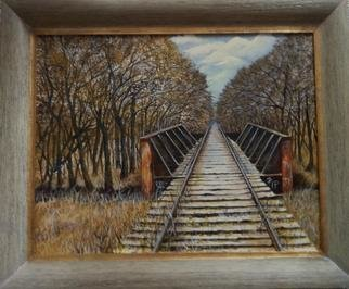 Pamela Van Laanen: 'Relic', 2013 Acrylic Painting, Trains. Artist Description:  Landscape, historical depiction of the end of an era in a Texas town, abandoned railroad tracks.                            ...