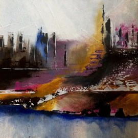 Pamela Van Laanen Artwork Urban Landscape, 2016 Acrylic Painting, Abstract