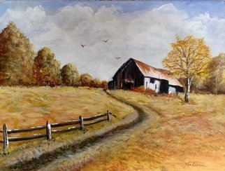 Pamela Van Laanen: 'autumn afternoon', 2018 Acrylic Painting, Landscape. Artist Description: Original acrylic on canvas rural fall themed painting featuring an old tin roofed barn. ...