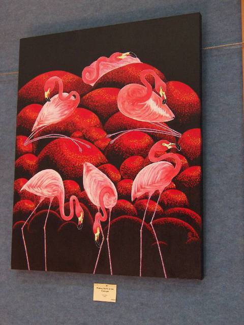 Artist Pam Griffin. 'Flaming Flamingos' Artwork Image, Created in 2008, Original Painting Acrylic. #art #artist