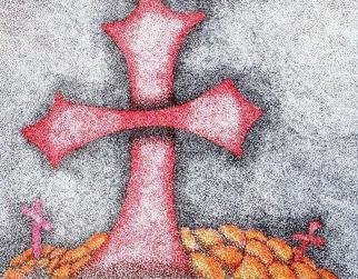 Pamela Henry: 'Legion', 2009 Marker Drawing, Culture.  This cross was done in honor of The Day of the Dead celebration. In stiple format, it shows marigolds on the graves. ...