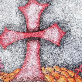 Pamela Henry: 'Legion', 2009 Marker Drawing, Culture. Artist Description:  This cross was done in honor of The Day of the Dead celebration. In stiple format, it shows marigolds on the graves. ...