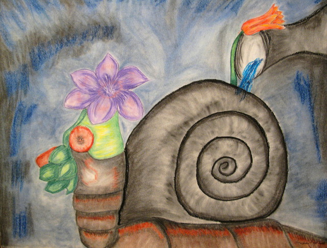 Andrea Appa  'A Vegetable Snail', created in 2009, Original Mixed Media.