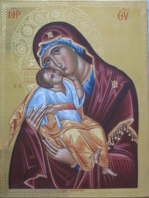 Adamantia Karatza: 'Byzantine icon of Virgin Mary with Child', 2012 Tempera Painting, Religious. Artist Description:  Hand painted religious icon with eggyolk tempera and real gold sheets on background under all traditional rules of byzantine art. The haloes are crafted by hand ...