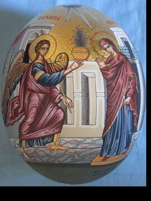 Adamantia Karatza: 'Icon of Annunciation on ostrich egg', 2012 Tempera Painting, Religious. Artist Description:             Hand painted religious icon on handcrafted wood with eggyolk tempera and real gold sheets on background under all traditional rules of byzantin art. The haloes are crafted by hand, and on the cloths there are real gold sheets.           ...