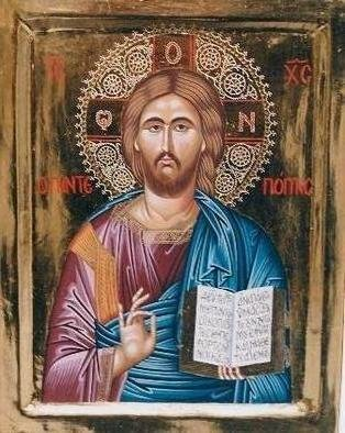 Adamantia Karatza: 'Religious icon of Jesus Christ Pantepoptis', 2012 Tempera Painting, Religious. Artist Description:    Hand painted religious icon on wood panel with eggyolk tempera and real gold sheets on background- burnished gilding- under all traditional rules of byzantine art. The halo is crafted by hand.   ...
