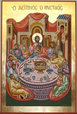 Adamantia Karatza: 'Religious icon of Last Supper', 2012 Tempera Painting, Religious. Artist Description:     Hand painted religious icon on wood panel with eggyolk tempera and real gold sheets on background under all traditional rules of byzantine art.   ...