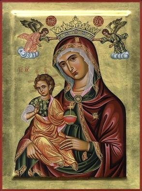 Adamantia Karatza: 'Religious icon of Madre della Consolazione', 2012 Tempera Painting, Religious. Artist Description:   Hand painted religious icon on wood panel with eggyolk tempera and real gold sheets on background under all traditional rules of byzantine- Italian art.  ...
