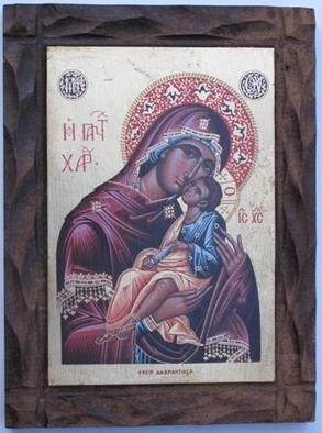 Adamantia Karatza: 'Religious icon of Virgin with Child', 2012 Tempera Painting, Religious. Artist Description:      Hand painted religious icon on handcrafted wood with eggyolk tempera and real gold sheets on background under all traditional rules of byzantin art.    ...