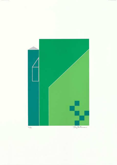 Birgitte Hansen  'Green Houses', created in 1985, Original Printmaking Serigraph.
