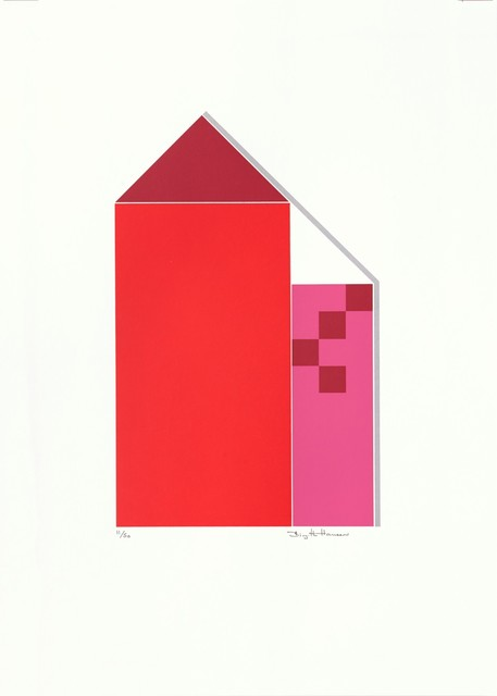 Birgitte Hansen  'Red Houses', created in 1985, Original Printmaking Serigraph.