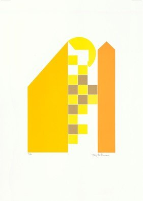 Birgitte Hansen: 'yellow houses', 1985 Serigraph, Architecture. Artist Description: Yellow Houses are inspired by Danish architecture. The style is Nordic, minimalist, simple and clear. If you are visiting a city in Norway, Sweden, Finland or Denmark, you will find streets and buildings that are modern in the lines, clear in shape and with strong colors. Very inspiring....