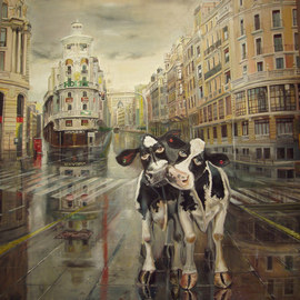Enrique Pariente Artwork Par de vacas en la Gran Via de Madrid, 2011 Oil Painting, Urban