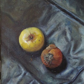 Parnaos Surabischwili: 'Apple and Onion', 1990 Oil Painting, Still Life. Artist Description:   Oil painting on board  ...
