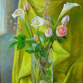 Parnaos Surabischwili: 'Callas and Roses', 2006 Oil Painting, Still Life. Artist Description:   Oil painting on board ...
