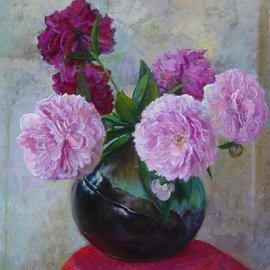 Parnaos Surabischwili: 'Peonies', 2007 Oil Painting, Still Life. Artist Description:    Oil painting on board  ...