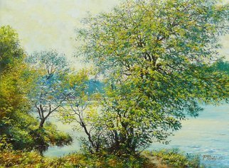 Petr Parkhimovitch: 'Breeze', 2015 Oil Painting, Landscape. Artist Description: river, coast, foliage, sun, windThe artwork on the stretcher, without a frame, signed on the front and back side.A light September breeze rustling the yellowing leaves of riparian trees. ...