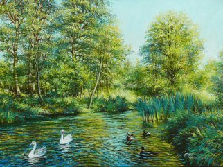 Petr Parkhimovitch: 'Emerald shadow', 2015 Oil Painting, Landscape. Artist Description: river, coast, water, ducks, geese, shadowThe artwork on the stretcher, without a frame, signed on the front and back side.A hot summer day.  The emerald shade of the trees and bubbling water give a pleasant coolness. ...