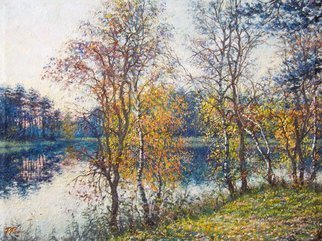 Petr Parkhimovitch: 'colored white', 2017 Oil Painting, Landscape. Artist Description: autumn, lake, sunset, shore, leaves...