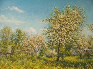 Petr Parkhimovitch: 'golden flower', 2017 Oil Painting, Landscape. Artist Description: Sunny May Day is filled with a golden fragrance of apple blossom.Oil on canvasThe artwork on the stretcher, without a frame, signed on the front and back side, has a Certificate of Authenticity, certified by expertise.Offer your price. ...