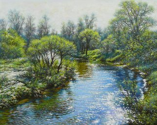 Petr Parkhimovitch: 'living water', 2015 Oil Painting, Landscape. Artist Description: river, water, wave, shine, springThe artwork on the stretcher, without a frame, signed on the front and back side.The April sun shines and sparkles in the light waves of the spring water. Nature comes to life. ...