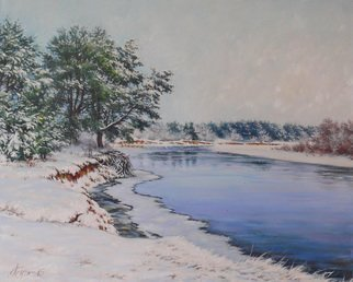 Petr Parkhimovitch: 'roots in water', 2015 Oil Painting, Landscape. Artist Description: Frost and snow. Pine tree on the edge of the river bank. Some of the roots in water.Original paintingOil on canvasThe artwork on the stretcher, without a frame, signed on the front and back side, has a Certificate of Authenticity, certified by expertise.Offer your ...