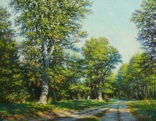 Petr Parkhimovitch: 'summer calmness', 2015 Oil Painting, Landscape. Artist Description: Summer, sun, forest, oaks, roadThe artwork on the stretcher, without a frame, signed on the front and back side.Summer sunny day. Roadside stately oaks create an atmosphere of peace and tranquility. ...