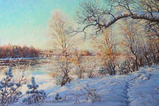Petr Parkhimovitch: 'to spring', 2016 Oil Painting, Landscape. Artist Description: snow, coast, March, sun, river...