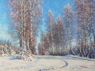 Petr Parkhimovitch: 'way pathway', 2015 Oil Painting, Landscape. Artist Description: Winter. Fresh trodden path on the snow- covered old road.The artwork on the stretcher, without a frame, signed on the front and back side, has a Certificate of Authenticity, certified by expertise.Offer your price. ...
