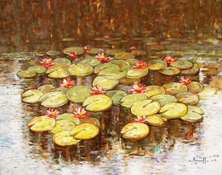 Angel Patchamanov: 'Water Lilies 51', 2014 Oil Painting, Landscape.                 From Cycles Water Lilies              ...