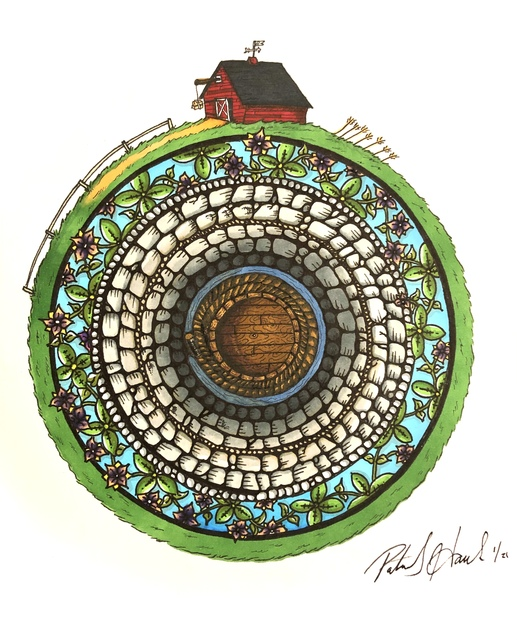 Patrick Hawkins  'Well', created in 2021, Original Drawing Marker.