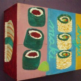Patrice Tullai Artwork sushi on wine box, 2006 Oil Painting, Food