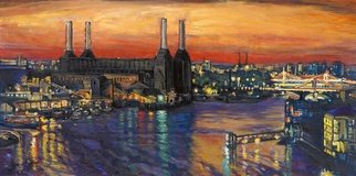Patricia Clements Artwork Battersea Power St and Bridges Print, 2010 Giclee, Cityscape