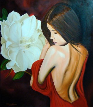 Patricia Vicente: 'Jade', 2014 Oil Painting, Beauty.   A beauty woman with a big flower. ...