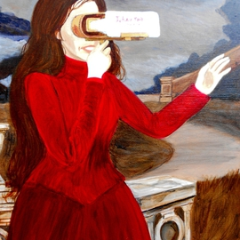 Patrick Lynch: 'L Autre Monde', 2014 Acrylic Painting, Mystical. Artist Description:   A mysterious Victorian lady gazes into a glowing stereoscope viewer into another world. ...