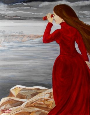 Patrick Lynch: 'La Maison De La Mer ', 2015 Acrylic Painting, Romance.  A mysterious Victorian lady gazes at a distant Gothic house by the sea through her telescope. ...