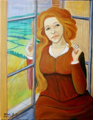 Patrick Lynch: 'The Morning Air', 2015 Acrylic Painting, Love.   A beautiful woman sits by a window overlooking a distant landscape  ...