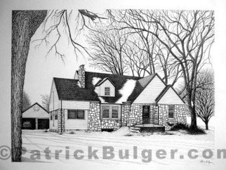 Patrick Bulger: 'Jacks House', 2007 Ink Painting, Architecture. Artist Description:  Pen & Inl rendering on paper, 24