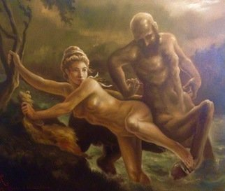 Paul Armesto: 'Dejanire et Nessus', 2016 Oil Painting, Mythology. Artist Description: This painting depicts the moment when Dejanira, wife of Heracles, is rescued from Nessus, the centaur, as he was taking her across the Evenos river. ...