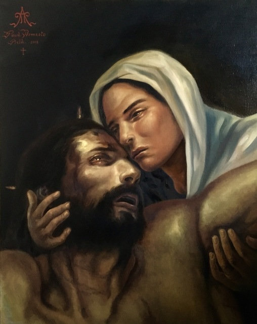 Paul Armesto  'Pieta', created in 2018, Original Painting Oil.