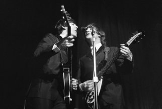 Paul Berriff: 'Harmony', 1963 Black and White Photograph, Music. John Lennon and Paul McCartney during the first ever performance of I Want To Hold Your Hand at the ABC Theater in Huddersfield England. This is a limited edition and comes signed on the verso by the photographer Paul Berriff with limited edition number and authenticity certificate. The image is ...