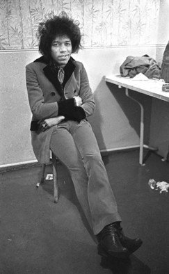 Paul Berriff: 'Jimi Hendrix Backstage', 1967 Black and White Photograph, Music. Artist Description:  Jimi Hendrix backstage before a concert at the Troutbeck Hotel, Ilkley Yorkshire England 1967. The police stopped the concert halfway through owing to overcrowding. The photograph comes signed by the photographer Paul Berriff on verso with limited edition number and authenticity certificate....
