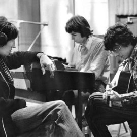 Paul Berriff: 'Pink Floyd Abbey Road', 1967 Black and White Photograph, Music. Artist Description:  Pink Floyd in a recording session at Abbey Road Studios in London 1967. They were recording' Scarecrow' for their first album' Piper At The Gates of Dawn' . This is a limited edition and is signed on the verso by photographer Paul Berriff with limited ...